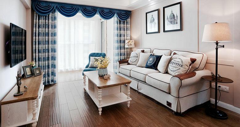清新休闲美式客厅窗帘设计_装修百科