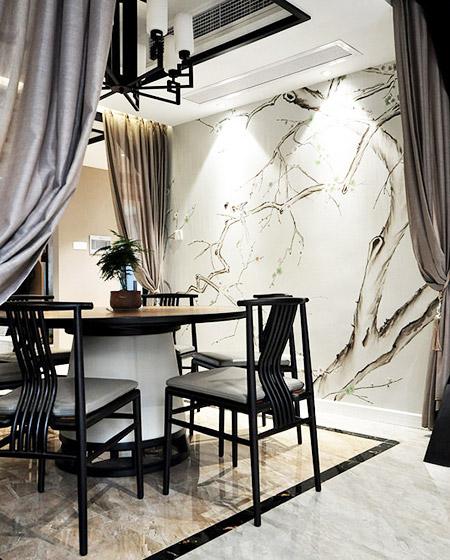 新中式风格餐厅 手绘背景墙设计