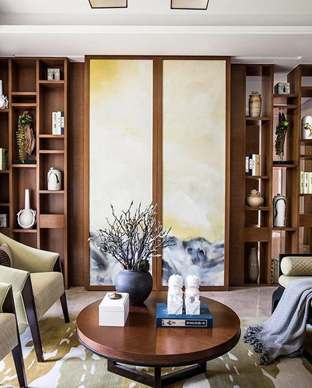 典雅新中式客厅博古架设计