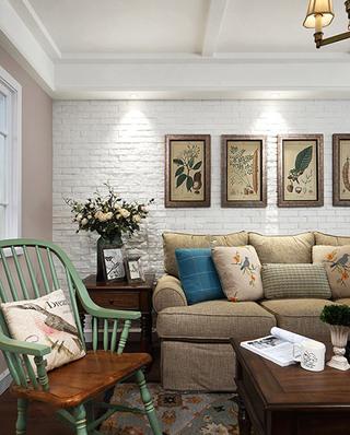 美式风格三室两厅客厅沙发图片