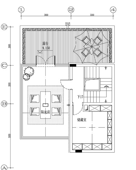450平地中海风格别墅四楼平面图