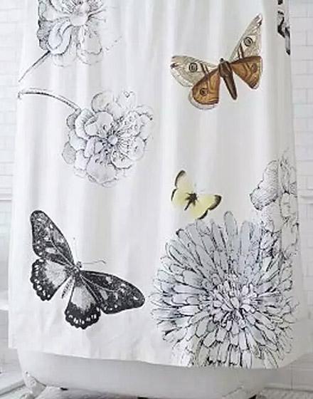 清新花卉主题浴帘装修设计