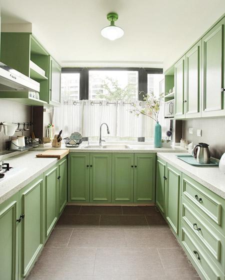 北欧风厨房 清新嫩绿色橱柜设计