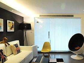 80平二居室装修 loft风格两室两厅装修 时尚黑白灰