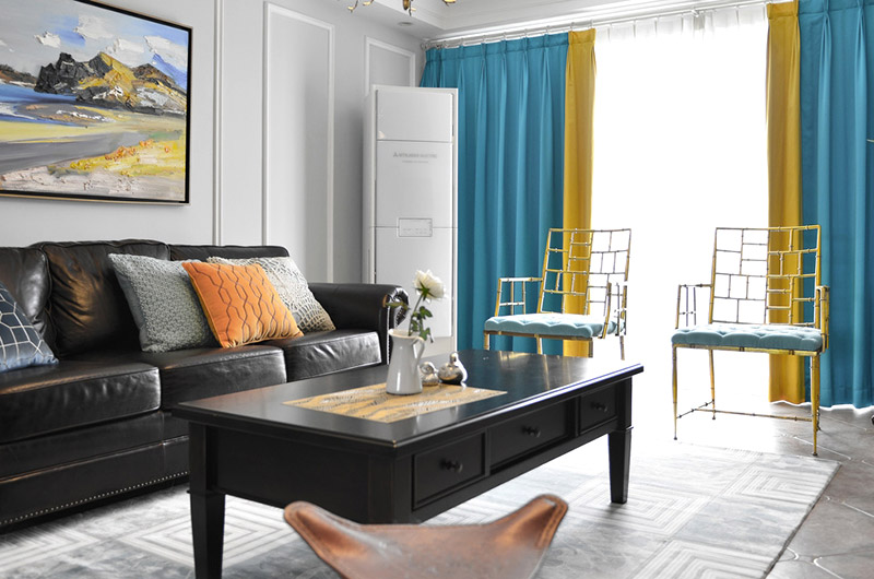 清新美式客厅窗帘效果图