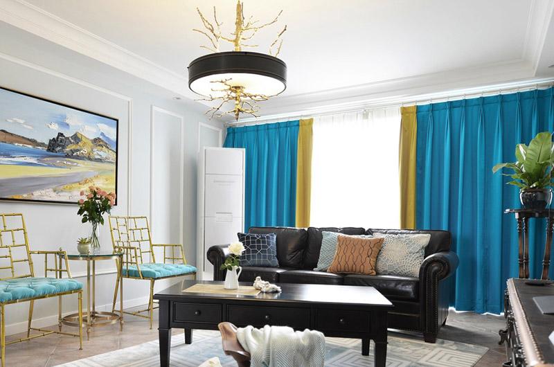140平美式风格三居客厅效果图-装修效果图案例 2018年装修效果图 齐
