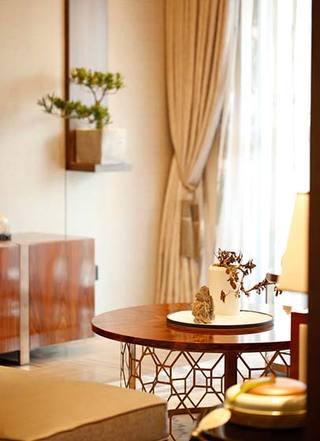 优雅新中式休闲区圆茶几设计