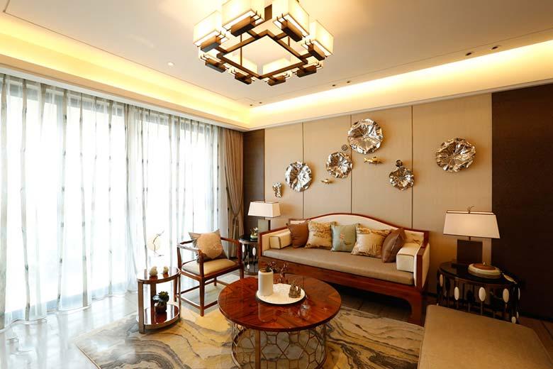 精美典雅新中式 客厅背景墙效果图