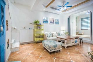 清新地中海复式客厅背景墙设计
