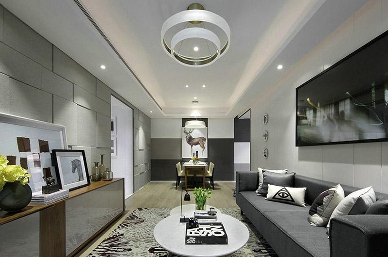 80平简约两室两厅客厅装修图高清图片