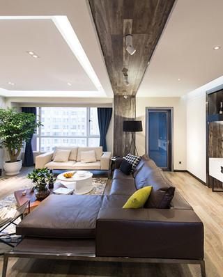后现代客厅木质吊顶效果图