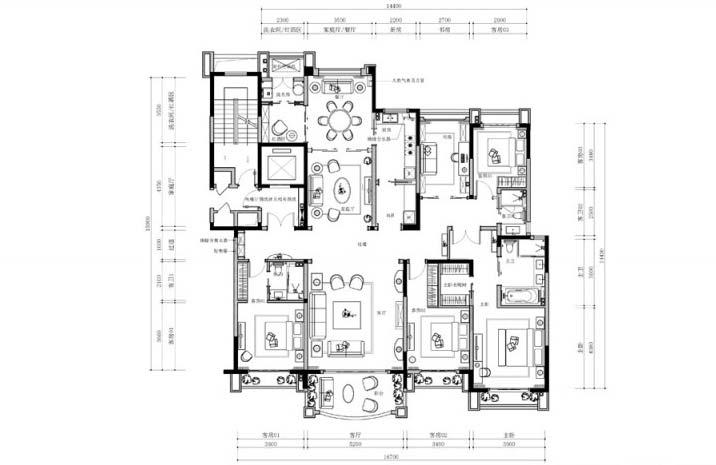 242㎡法式三居设计平面图