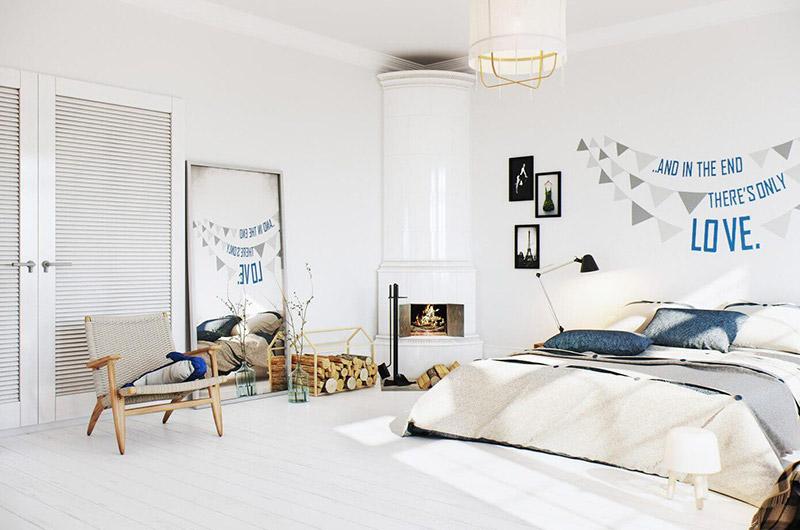 北欧风格公寓卧室背景墙装修