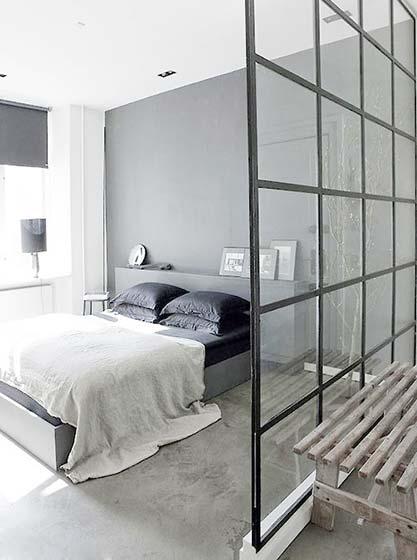 卧室玻璃隔断设计实景图