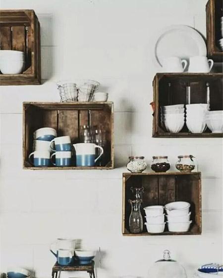 厨房木质碗盘收纳架图片