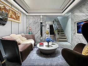 100平现代简约复式楼装修 灰白纯净空间