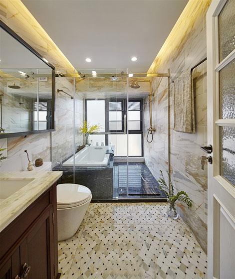华丽欧式卫生间干湿隔断设计