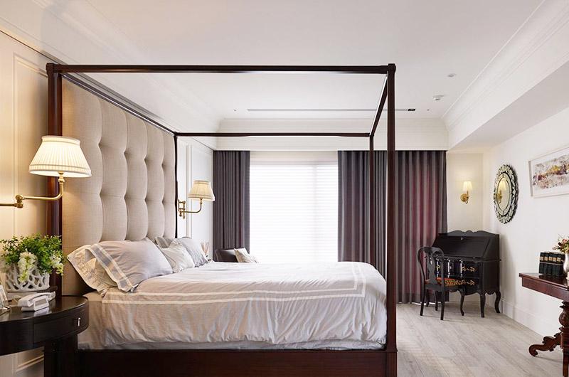 340平美式别墅卧室床架设计