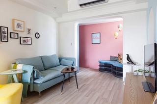 甜美法式客厅过道 粉色背景墙设计