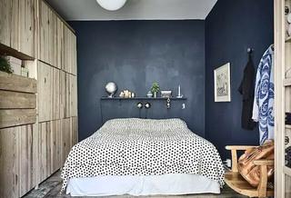 冷淡北欧风卧室 黑色背景墙装潢图