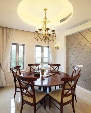优雅欧式别墅餐厅 圆形吊顶设计