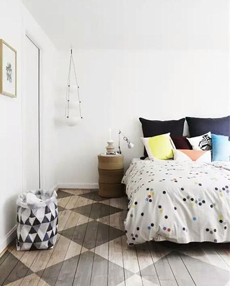 北欧风格清新床品装修装饰图