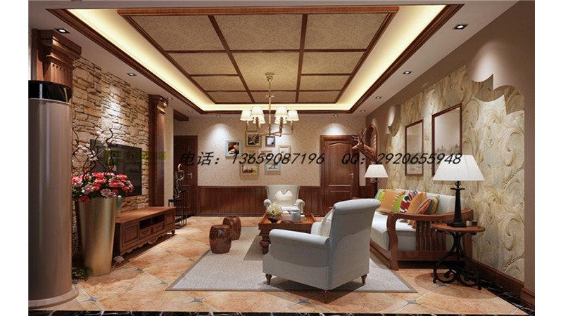 10-15万100㎡美式三居室装修效果图,美式风格效果图图