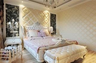 奢华欧式别墅卧室 软包背景墙设计