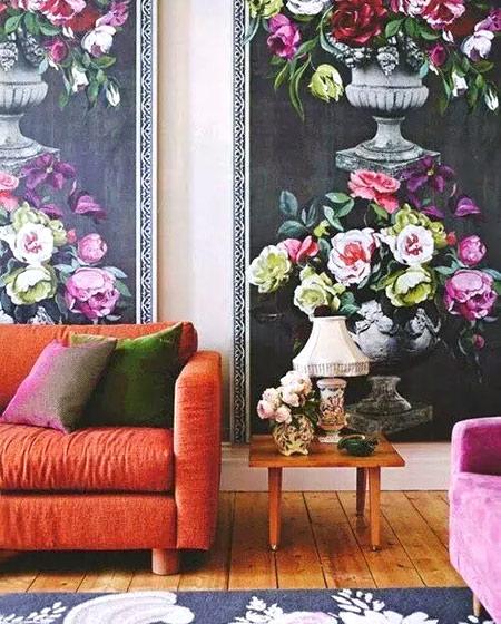 客厅橙色沙发装修图片