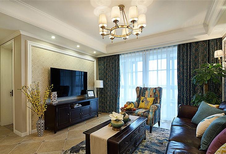 美式风格二居室装修客厅电视背景墙