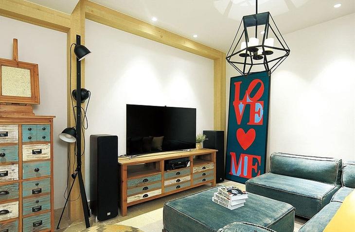美式风格复式公寓装修客厅设计图