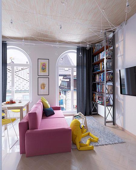 35平公寓客厅粉色沙发图