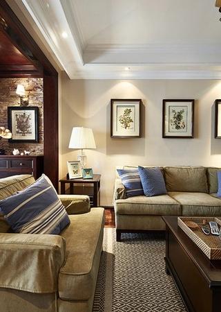 美式田园风格三居室装修布艺沙发图片