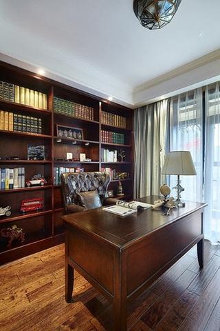 美式田园风格三居室装修书房效果图