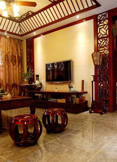 精致典雅中式客厅 电视背景墙设计