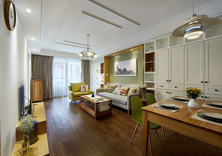 120平简约风格三室两厅装修客厅设计