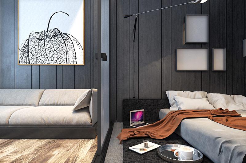 后现代混搭风 客厅卧室隔断设计