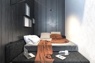黑色后现代公寓小卧室设计图