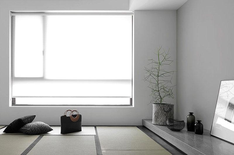 浅灰色简约风榻榻米卧室效果图
