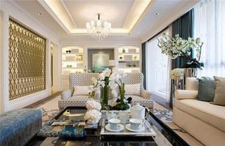 现代风格四房客厅布艺沙发效果图