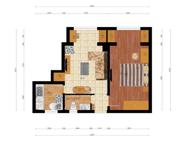 原木色就是温馨,50�O简约单身公寓案例欣赏