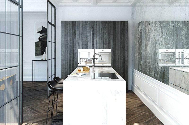 110平单身公寓厨房吧台装修