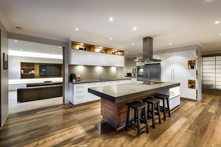 奢华大气简欧风 开放式厨房中岛设计图片