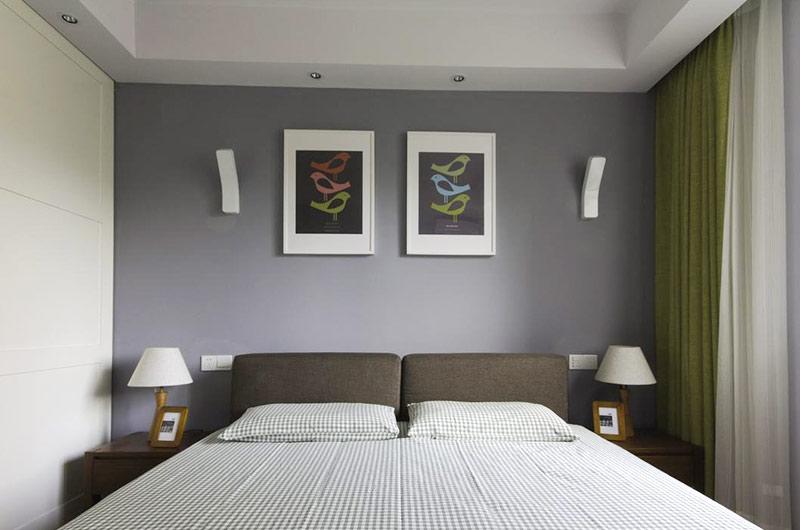 北欧风格三居卧室背景墙装饰画图片