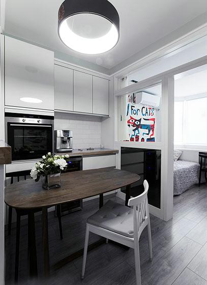 100㎡现代简约两居室餐厅效果图