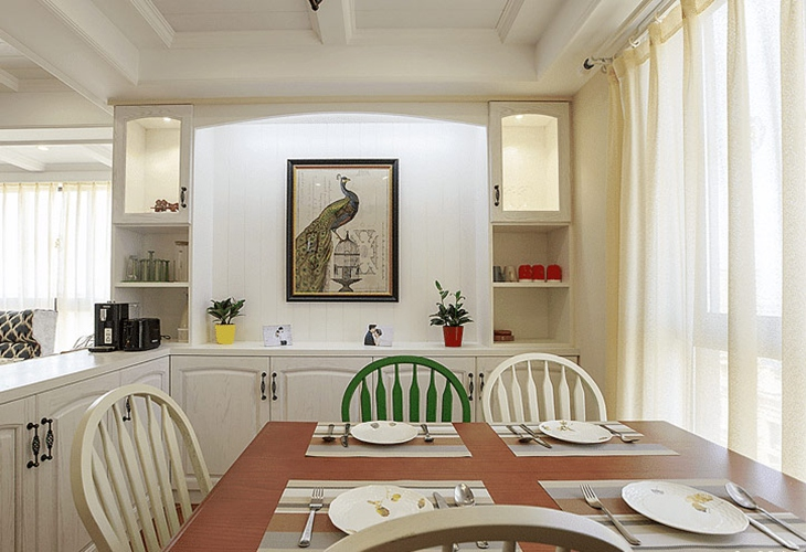 简美风格三室两厅  中年人喜爱的装修风格餐厅设计
