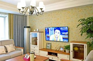 温馨田园风客厅 碎花电视背景墙设计