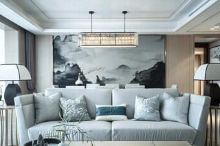 素雅新中式客厅 水墨画背景墙设计