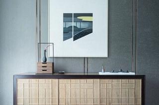 132平中式样板房卧室展示柜设计