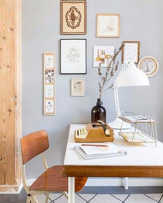浪漫北欧风书桌照片墙效果图